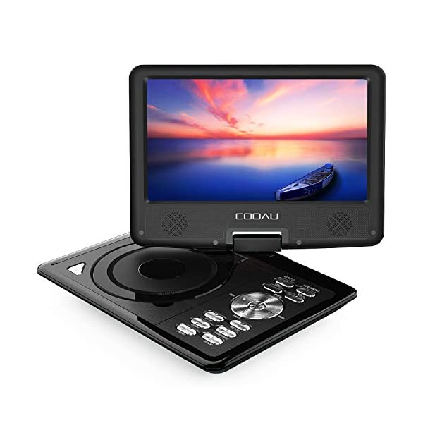 "Portable DVD Player with 5 Hour Rechargeable Battery, Game Joystick, 9.5"" Swivel Screen, Support USB Port and SD Card, Region Free, Purple 3"