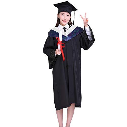 KINDOYO College Student Graduation Kostüm - College Student Abschluss Master Doktor Bachelor Kleid,Weiß Collar,EU XS=Tag S