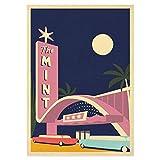Reiseplakat, Las Vegas, USA, Nevada, Kasino, Mint, Retro-Kunstdruck, amerikanische Landschaft, Palmen, Travel Poster, Reise