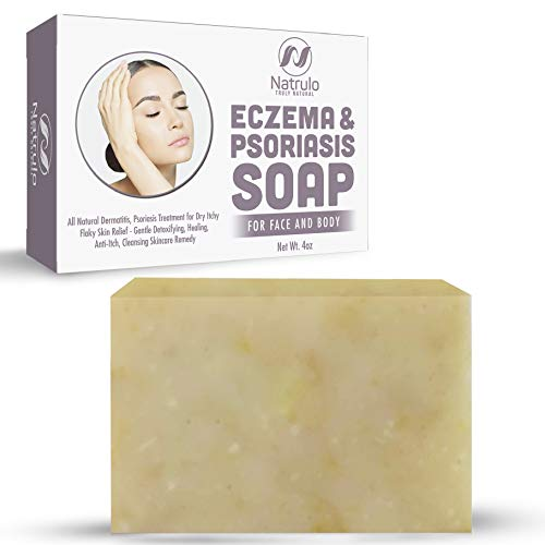 Eczema Soap Bar for Face and Body – All Natural Dermatitis, Psoriasis Treatment for Dry Itchy Flaky Skin Relief – Gentle Detoxifying, Healing, Anti-Itch, Cleansing Skincare Remedy - 4 oz Made in USA