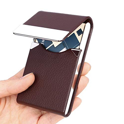 JuneLsy Business Card Holder - Professional PU Leather Business Card Case Metal Name Card Holder Pocket Business Card Carrier for Men with Magnetic Shut (Coffee)