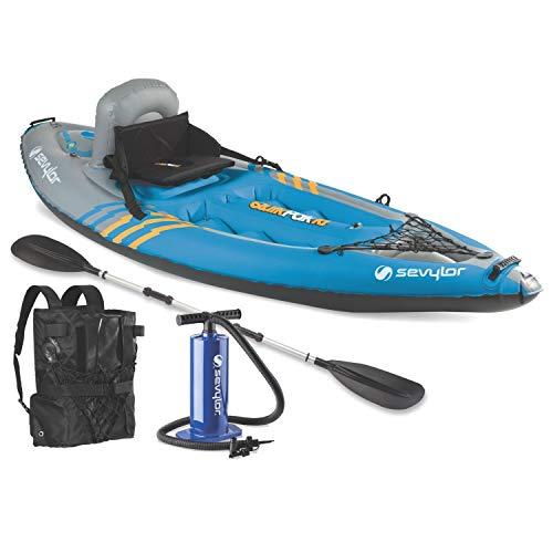 "Sevylor Quikpak K1 1-Person Kayak Blue, 8'7"" x 3'"
