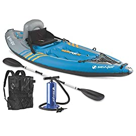 Sevylor Quikpak K1 1-Person Kayak 1 5-minute setup lets you spend more time on the water Easy-to-carry backpack system turns into the seat 21-gauge PVC construction is rugged for lake use