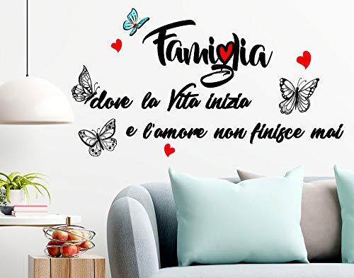 Stickerdesign Adesivo Murale Wall Stickers Frase Citazione Famiglia Amore e Vita Adesivi Murali Decorazione interni Frase