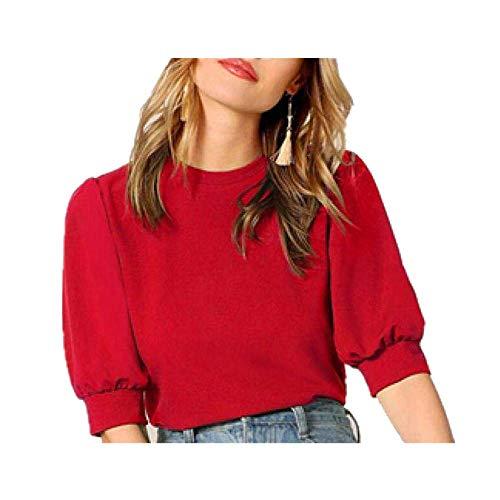 Blusa para mujer, estilo casual, color verde, con agujero en la espalda, parte superior y blusa para mujer, ropa de trabajo de verano, media manga, elegantes blusas