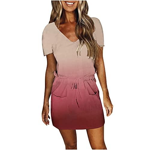 Zomerjurk voor dames, knielang, gradient jurk, korte mouwen, V-hals, tuniek, elegant, eendelige rokjurk, jurk, dames, zomer, kort, mini-jurk, T-shirt, jurk, sexy, korte jurk, strandjurk