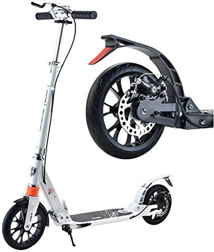 BRFDC Patín Eléctrico Big Wheel Scooter for Adultos Niños Adolescentes Plegable Kick Scooters con Freno de Mano y de Doble Suspensión Ajustable en Altura - Carga 100kg (Color : White)