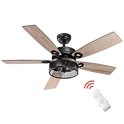 Tangkula Farmhouse Ceiling Fan with Light, Rustic LED Ceiling Fan with 3 Lights for Indoor, w/ 5 Iron Reversible Blades & Remote Control, Industrial Cage Light, 48-Inch (Matte Black)