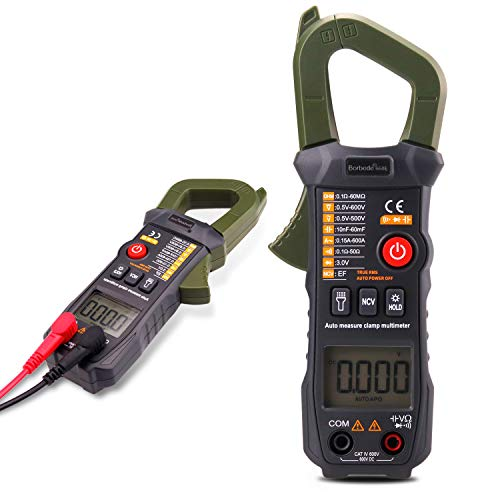 Borbede Digital Clamp Meter Multimeter Automatic Identification 6000 Counts DC AC Resistance Capacitance Diode NCV Multi Tester Mini