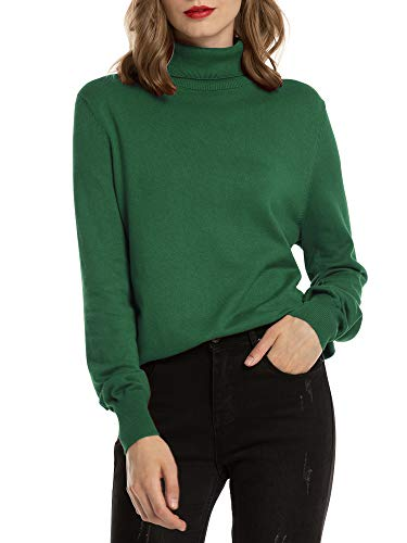 Woolen Bloom Maglione Collo Alto Donna Felpa Ragazza Sweatshirt Pullover con Manica Lunga Eleganti per Autunno Inverno