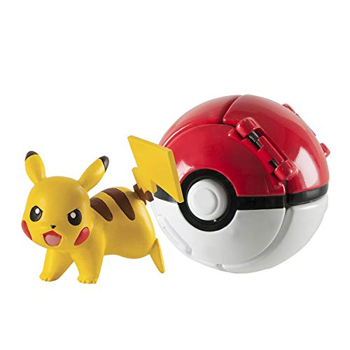 DUDEL Pokemon Lets Go Pikachu mit Ball Game Action Figure Toy Set für Kinder (Pikachu)