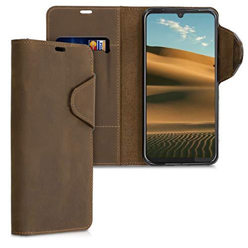 kalibri Hülle kompatibel mit Motorola Moto G8 Plus - Leder Handyhülle Handy Hülle Cover - Schutzhülle in Braun