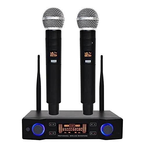 cambiador de voz Profesional UHF Sistema de micrófono inalámbrico Long Range Dual Canal Dynamic Handheld Mic con transmisor Karaoke Micrófono altavoz con micrófono ( Color : EU PLUG 640 670 )
