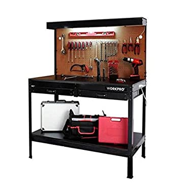 Garage Workbench with Light Wood Steel Work Bench Tools Table Home Workshop