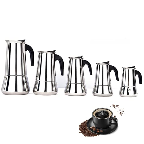 YONGQING Cafetera italiana Moka Pot, 2/4/6/9/12 tazas (taza de expreso = 50 ml), cafetera clásica de acero inoxidable apta para...