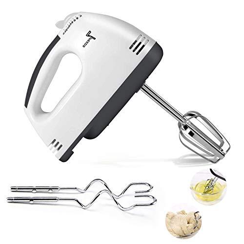 Batidora de mano eléctrica EggBeater con 4 cabezales de acero inoxidable (2 palas, 2 ganchos) color blanco para utensilios de cocina, hornear, pasteles, café, accesorios