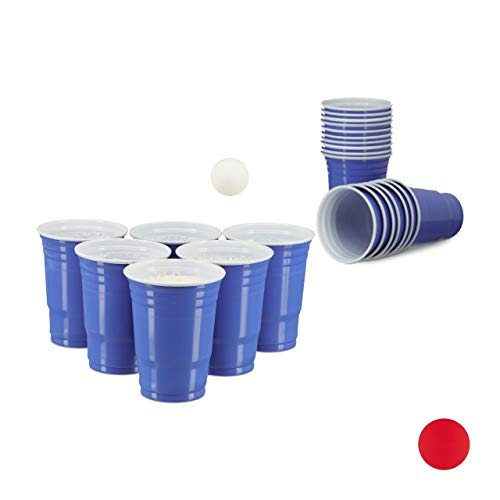 Relaxdays Vasos Desechables para Fiestas, Azul, 9x9x43 cm