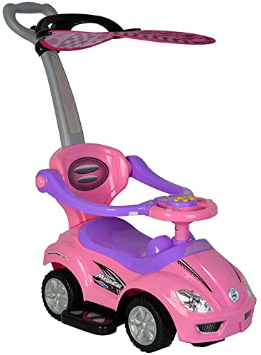 ChromeWheels 3 in 1 Ride on Toys Pushing Car with...