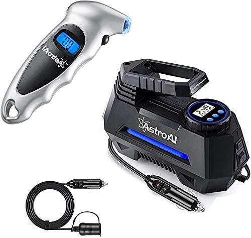 AstroAI Tire Pressure Gauge 150 PSI, Tire Air Pump and Cigarette Lighter Extension Cord Bundle