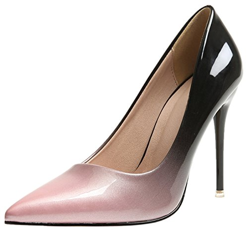 BIGTREE Spitze Zehen Pumps Damen High Heels Kleid Pumps Pink Gradients Stiletto Schuhe 39 EU