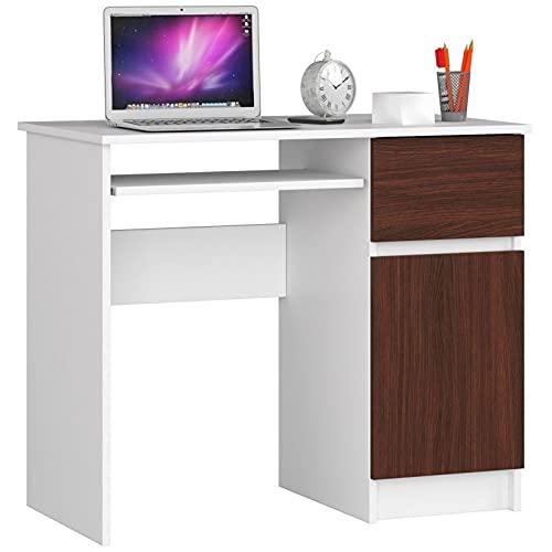 ADGO Pixel - Banco escolar de madera, 90 x 74 x 50 cm, con 1 cajón y 1 armario para una habitación juvenil y una oficina (correcto, blanco/wengué)