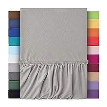 Sábanas bajeras ajustables de leevitex. Algodón 100 % en distintos tamaños y colores. Certificado de calidad Standard 100 by OEKO-TEX, 100 % algodón, gris plateado, 180x200 - 200x200 cm