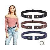 3 Pieces No Buckle Belt Women Elastic Belts SUOSDEY Buckle Free Invisible Elastic Belt for Jeans Pants,black/blue/coffee,24-33