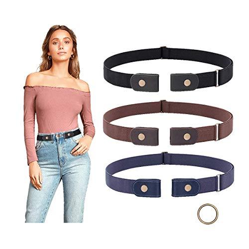 3 Pieces No Buckle Belt Women Elastic Belts SUOSDEY Buckle Free Invisible Elastic Belt for Jeans Pants