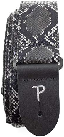 Perri s Leathers Black Faux Snake Skin Guitar Strap Leather 2 Wide Adjustable 41 to 56 Long product image