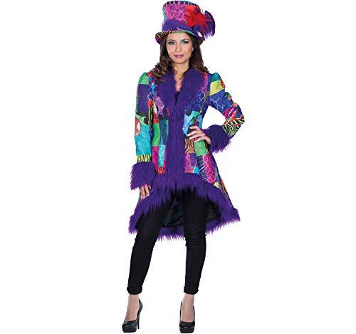 Damen Patchwork Mantel inkl. Zylinder bunt/lila Fasching Set Jacke mit Hut Karneval Garde (40)