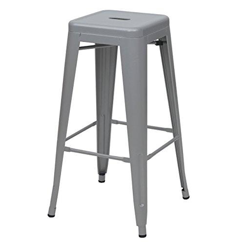 Mendler Tabouret de Bar HWC-A73, Chaise de comptoir, métal, empilable, Design Industriel - Gris