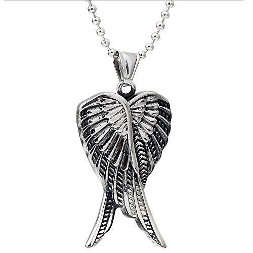 FTYYSWL Men's Titanium Angel Wing Pendant Men's Domineering Necklace