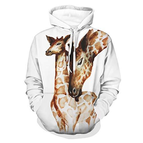 Shinelly Aquarell Giraffe Madre e Niño Pintura Hombre Sudadera Sudadera con Capucha Ethnica Manga Larga Sudadera Sudadera con Capucha Sudaderas con Bolsillos Sudaderas blanco S