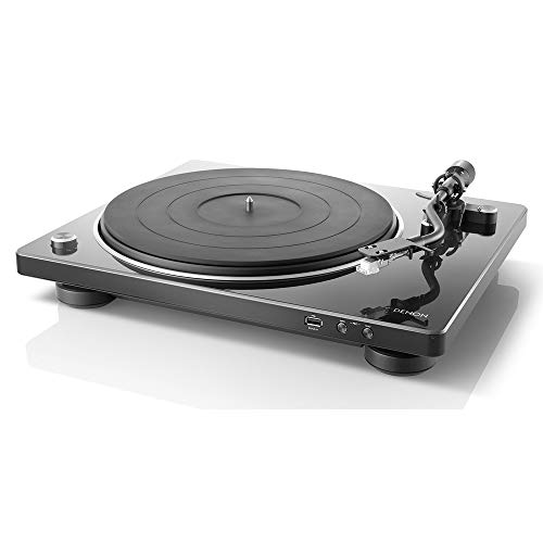 Denon DP-450USB Semi-Automatic Analog Turntable | USB Output for Recording | Speed Auto Sensor | Specially Designed Curved Tonearm | 33 1/3, 45, 78 RPM (Vintage) Speeds | Superior Audio, Black