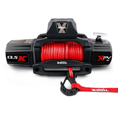 X-BULL 12V Synthetic Rope Winch-13500 lb. Load Capacity Electric Winch Kit,Waterproof IP66 Electric Winch with Hawse Fairlead, with Wireless Handheld Remote and Corded Control Recovery