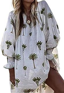 YEMOCILE Women's Tree Print V Neck Oversize Puff Long Sleeve Blouse Shirt Tops