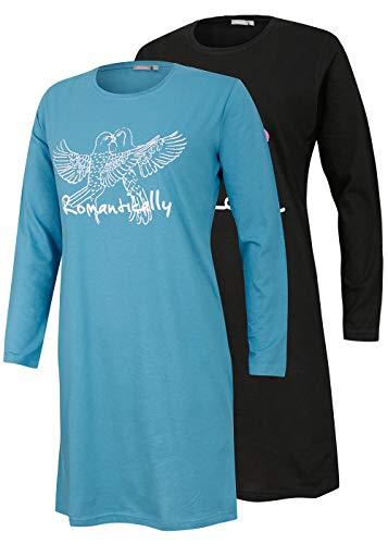 Moonline nightwear Neu eingetroffen - Doppelpack Damen-Bigshirt Nachthemd, Langarm, Uni mit Druck (schwarz/Petrol, 36/38)