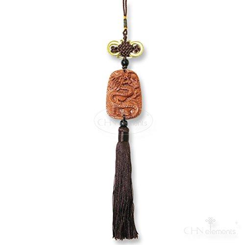 wch2-fine Holz geschnitzt Chinesische Glück Charme mit Drache auf für Schutz