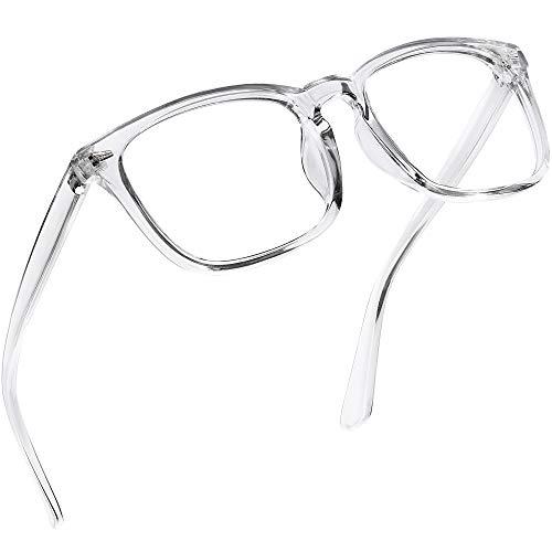 Blaulichtfilter Brille Damen und Herren, Computer/Gaming Blaufilter Brille, Blaulicht Brille mit Klassische Rechteckigem Mode-Design, Verringerung der Augenbelastung, Transparentes Grau