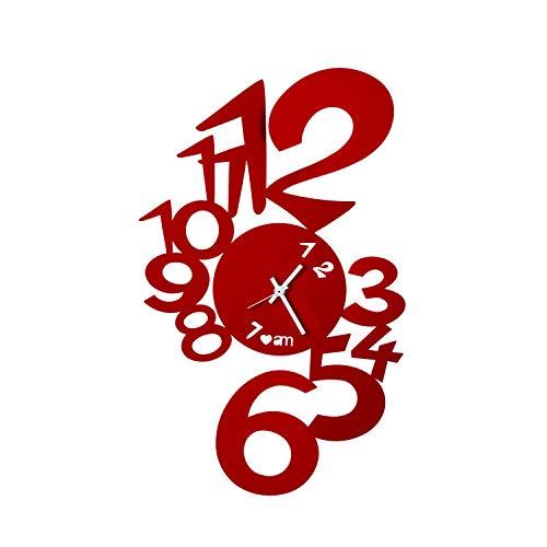 Arti & Mestieri Lupin - Orologio da Parete di Design 100% Made in Italy - in Ferro, 30 x 48 cm - Rosso
