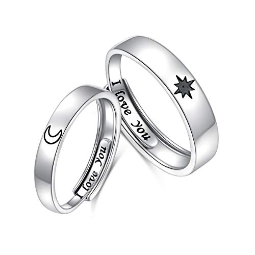 2PCS 925 Sterling Silver Adjustable Rings Couples Promise Engagement Rings for Him and Her Set Sun and Moon 2In1 I Love You Rings 1