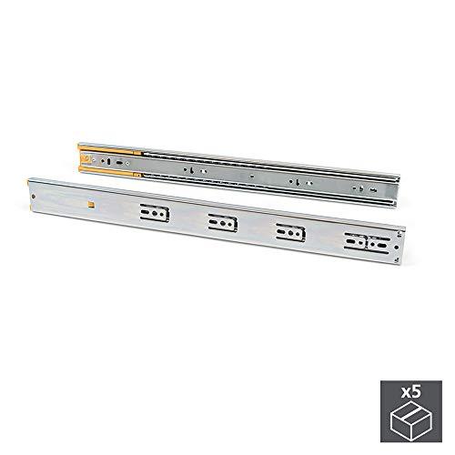 EMUCA - Guías Laterales para cajones con rodamiento de Bolas 45mm x 400mm, Pack de 1 Juego de guías de extracción Total con Cierre Suave