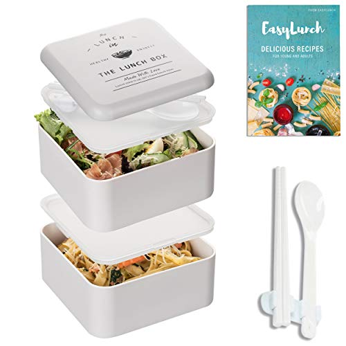 Two Stackable LeakProof Bento Box - Microwave Safe and Lunch Containers 2 Layer Lunch Box Kids & Adults For Healthy Snacks Stylish Traditional Japanese Bento Box With Chopsticks BPA-Free