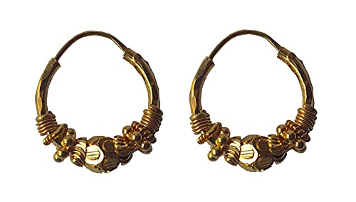 Sólido de 18 quilates genuino diseño abstracto hermoso pendientes del aro (18 quilates) Oro Fino
