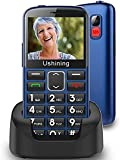 Ushining Unlocked Senior Cell Phones 3G AT&T Big Button Feature Phone Hearing Aids Compatible Easy-to-Use Basic Mobile Phones for Elderly with Charging Dock(Blue)