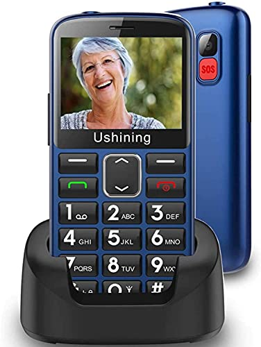 Ushining Unlocked Senior Cell Phone 3G AT&T Big Button Feature Phones Hearing Aids Compatible Easy-to-Use Basic Mobile Phones for Elderly with Charging Dock(Blue)