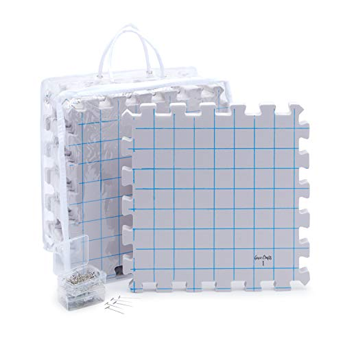 Blocking Mats for Knitting with 200 T-Pins and Storage Bag (12.5 in, 210 Pieces)