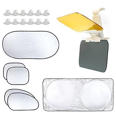 WOSON 7pcs Foldable Reflective Car Sun Shades Windshield Window Sunshade Set - 1 Front Shade + 1 Rear Shade + 4 Side Shades + 1 Bag + 12 Suction Cups - Auto Car Protector Cover UV Ray Protection New