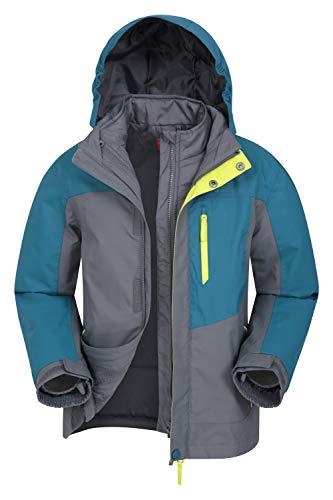 Mountain Warehouse Compass Youth wasserdichte 3-in-1-Jacke – atmungsaktive Kinder Regenjacke, versiegelte Nähte, isoliert, abnehmbare Kapuze – zum Reisen und Wandern Petrolblau 9-10 Jahre