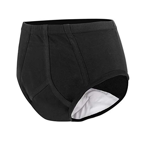 Men's Incontinence Underwear with Built in Absorbent Pad Surgical Recovery Washable Reusable Incontinence Briefs for Prostate Surgery (Black, Medium)